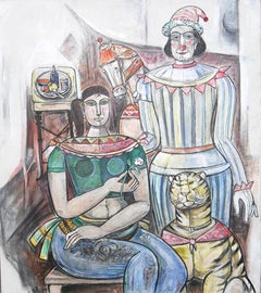 """Circus Team, Mixed Media on Canvas, by Modern Indian Artist """"In Stock"""""""