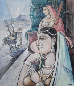"""Untitled, Mixed Media on Canvas, Red, Blue by Modern Indian Artist """"In Stock"""""""