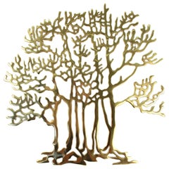 Bijan Modern Brass Tree Wall Sculpture