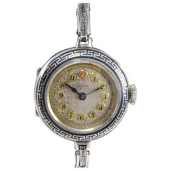 Bijou by Racine Sterling Silver and Niello Ladies Art Deco Wristwatch circa 1915