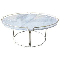 Bijou Cocktail Table in Marble and Matte Gold by Roche Bobois
