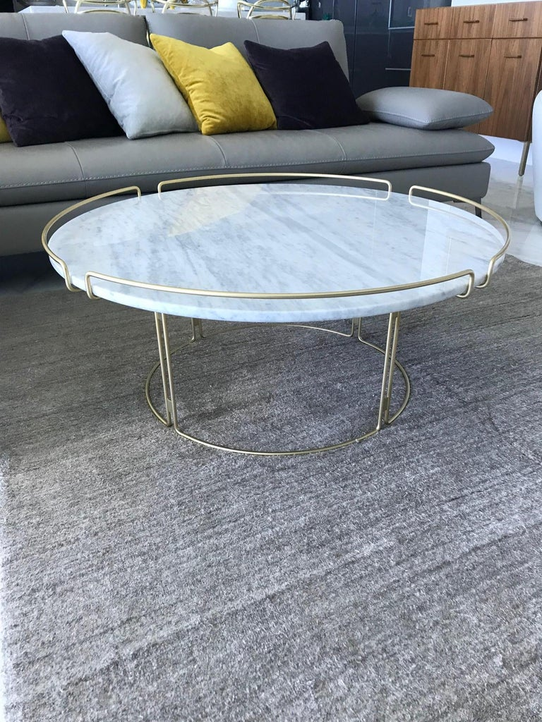 Mid-Century Modern Bijou Coffee Table in Marble and Matte Gold by Roche Bobois, 2018 For Sale