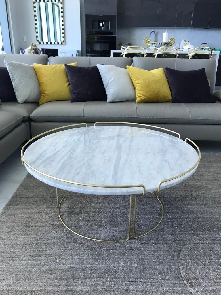 French Bijou Coffee Table in Marble and Matte Gold by Roche Bobois, 2018 For Sale