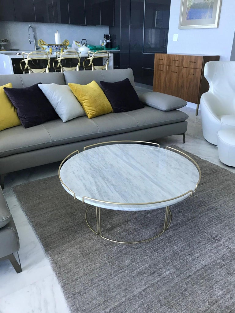 Lacquered Bijou Coffee Table in Marble and Matte Gold by Roche Bobois, 2018 For Sale