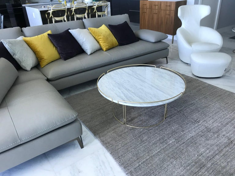 Bijou Coffee Table in Marble and Matte Gold by Roche Bobois, 2018 In Excellent Condition For Sale In Miami, FL