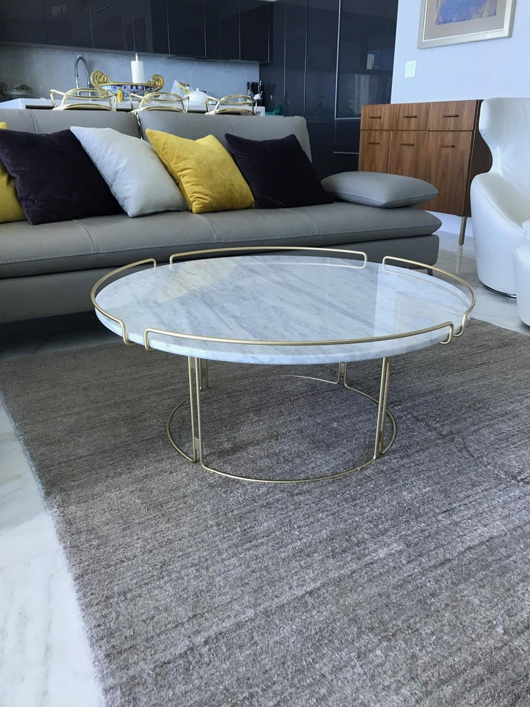 Contemporary Bijou Coffee Table in Marble and Matte Gold by Roche Bobois, 2018 For Sale