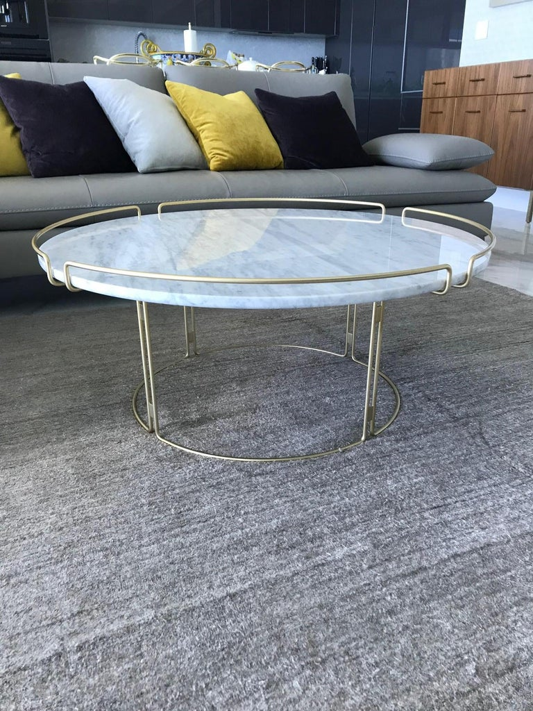 Steel Bijou Coffee Table in Marble and Matte Gold by Roche Bobois, 2018 For Sale