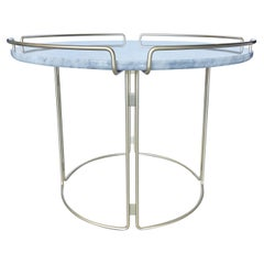 Bijou End Table in Marble and Matte Gold by Roche Bobois