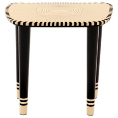Bijou Marquetry Stool Black and White by Matteo Cibic