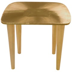 Bijou Marquetry Stool in Brass by Matteo Cibic