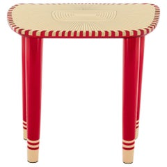 Bijou Marquetry Stool Red and White by Matteo Cibic