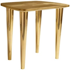 Bijou Stool in Brass with Glossy Finish by Matteo Cibic