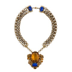 Bijoux Heart Necklace with Large Citrine Glass Centre Piece by Dita Von Teese