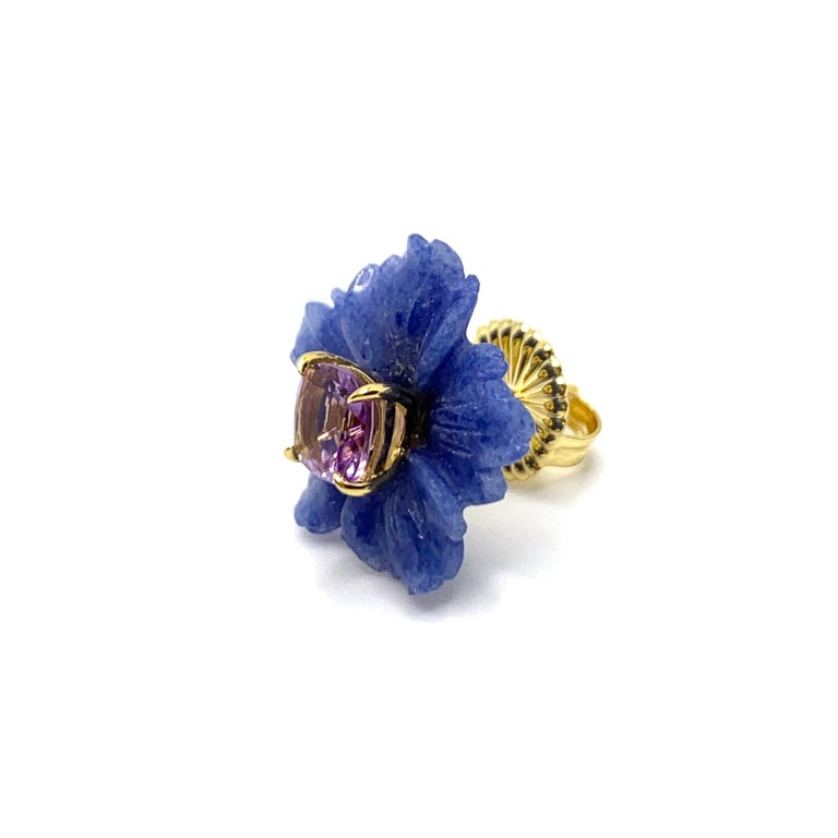 Mixed Cut Bijoux Num 19mm Carved Dumortierite Flower with Cushion-cut Amethyst Earrings For Sale