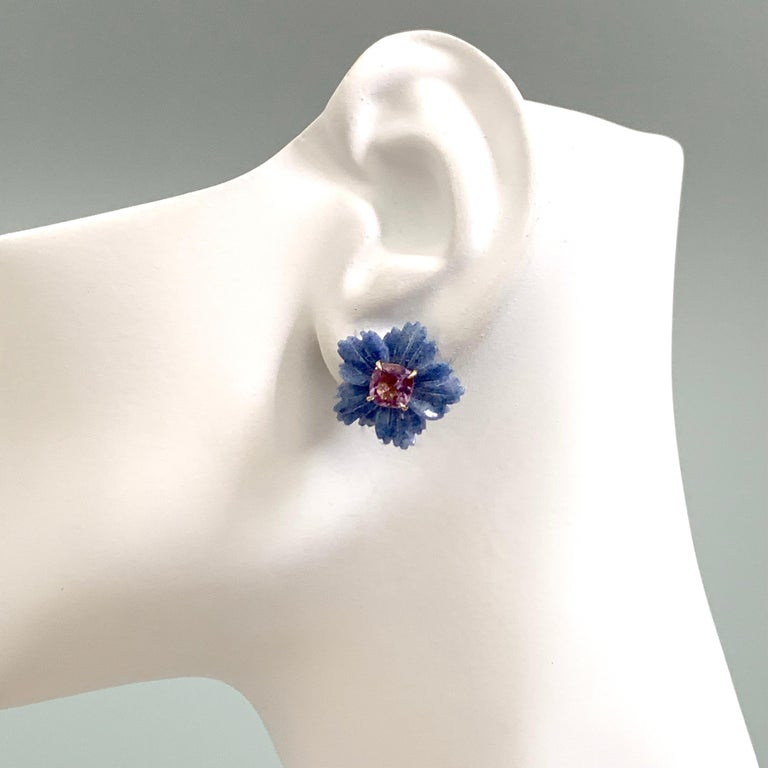 Bijoux Num 19mm Carved Dumortierite Flower with Cushion-cut Amethyst Earrings For Sale 1