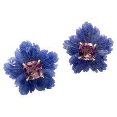 Bijoux Num 19mm Carved Dumortierite Flower with Cushion-cut Amethyst Earrings