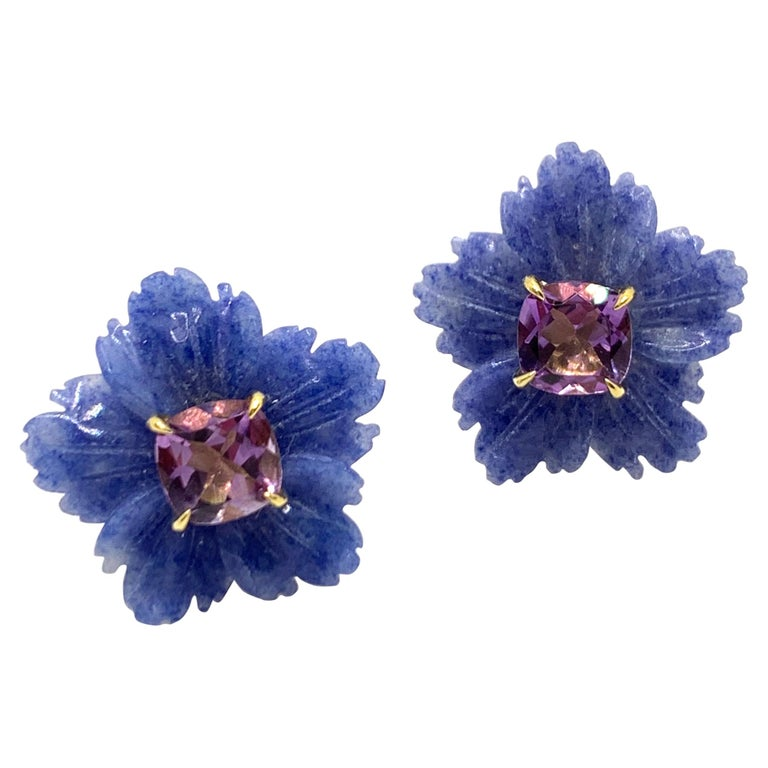 Bijoux Num 19mm Carved Dumortierite Flower with Cushion-cut Amethyst Earrings For Sale