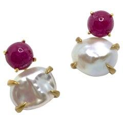 Bijoux Num 1ct Cabochon-cut Ruby and Keishi Pearl Vermeil Drop Earrings