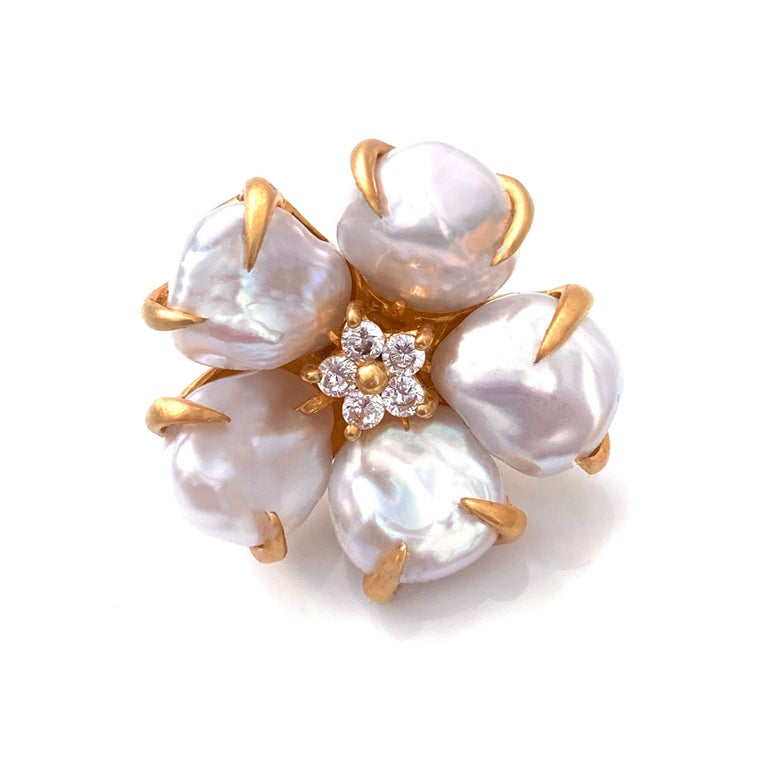 Contemporary Bijoux Num Baroque Pearl Flower Earrings For Sale