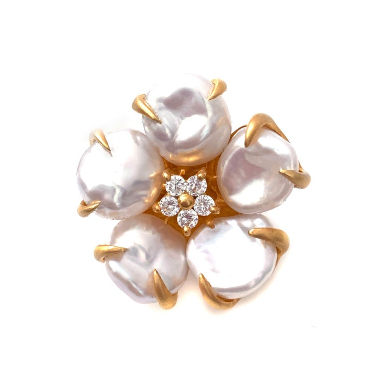 Uncut Bijoux Num Baroque Pearl Flower Earrings For Sale