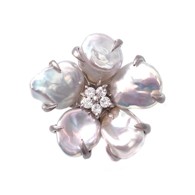 Uncut Bijoux Num Baroque Pearl Flower Earrings For Sale