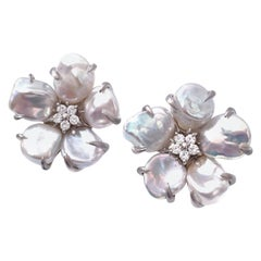 5-petal Baroque Pearl Sterling Silver Blossom Flower Earrings