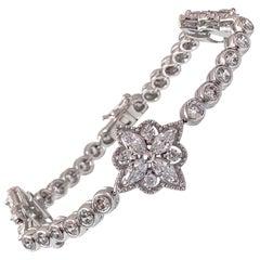 Bijoux Num Byzantine Flower Faux Diamond Bracelet
