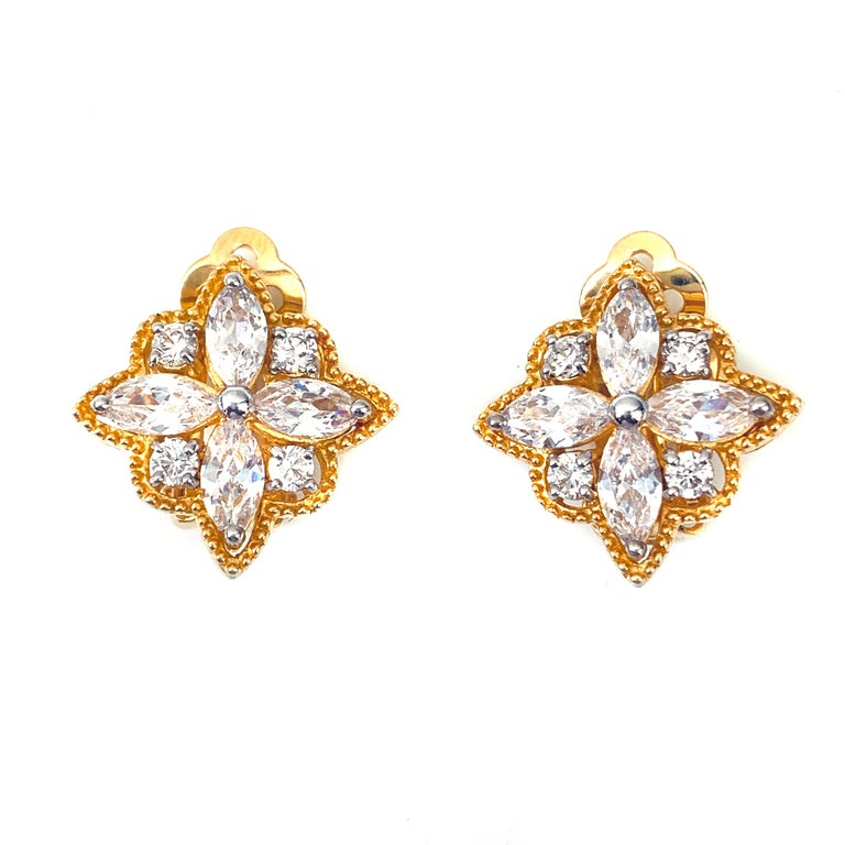 Byzantine Flower Faux Diamond CZ Clip-on Earrings  These earrings feature top quality marquis and round faux diamond cubic zirconia, handset in 18k gold vermeil sterling silver, and adorned with beaded trim. The earrings measure approximately 7/8