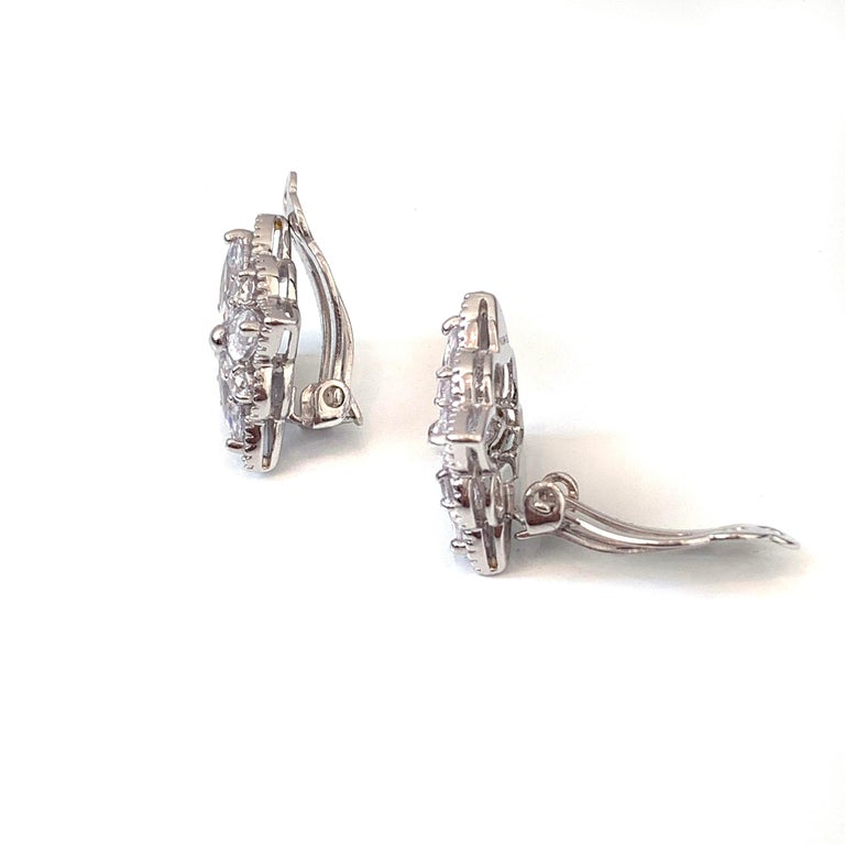 Contemporary Bijoux Num Byzantine Flower Faux Diamond Sterling Silver Clip-on Earrings For Sale