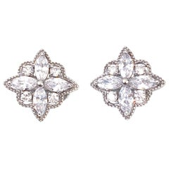Bijoux Num Byzantine Flower Faux Diamond Sterling Silver Clip-on Earrings