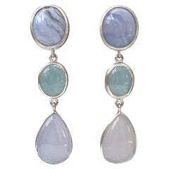 Triple Cabochon Chalcedony and Aquamarine Dangle Sterling Silver Earrings