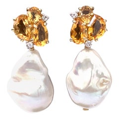 Bijoux Num Citrine and Baroque Pearl Drop Earrings