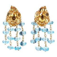 Bijoux Num Clustered Citrine and Blue Topaz Dangle Earrings