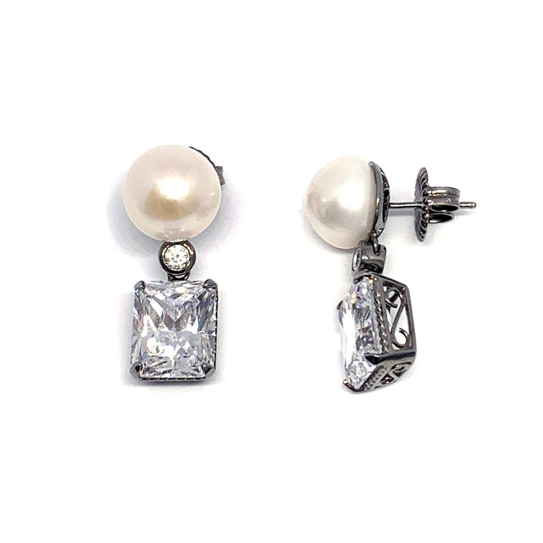 Contemporary Bijoux Num Cultured Pearl and Faux Diamond Drop Earrings For Sale