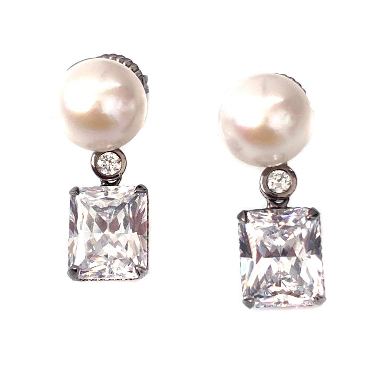 Round Cut Bijoux Num Cultured Pearl and Faux Diamond Drop Earrings For Sale