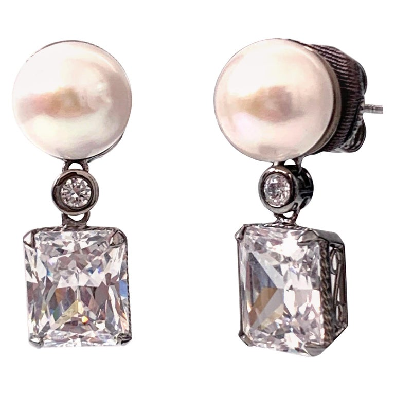 Bijoux Num Cultured Pearl and Faux Diamond Drop Earrings For Sale
