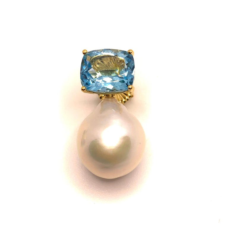 Contemporary Bijoux Num Cushion-cut Blue Topaz and White Cultured Baroque Pearl Drop Earrings For Sale