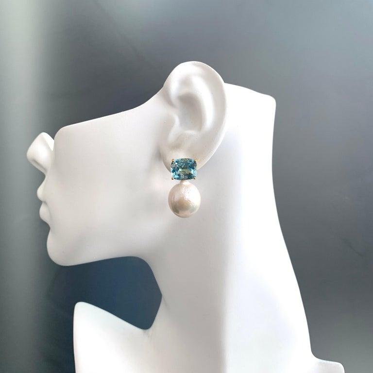 Cushion Cut Bijoux Num Cushion-cut Blue Topaz and White Cultured Baroque Pearl Drop Earrings For Sale