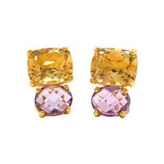 Bijoux Num Cushion-cut Citrine and Oval Amethyst Earrings