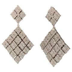 Bijoux Num Diamond Shape CZ sterling silver Dangle Earrings