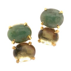 Bijoux Num Double Oval Cabochon Emerald and Prasiolite Earrings