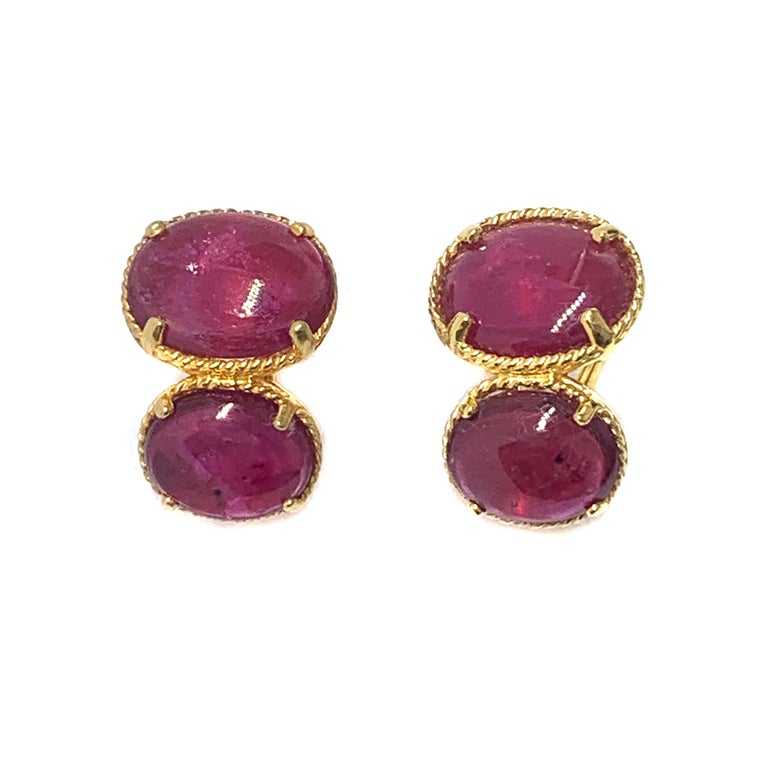 Stunning Bijoux Num Double Genuine Oval Ruby Vermeil Earrings.  The earrings feature 4 beautiful pink-ish oval cabochon-cut ruby (18 carat total weight), handset in 18k gold vermeil over sterling silver.  Straight post back with omega clip backing.