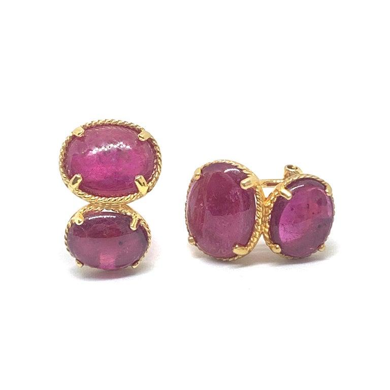 Oval Cut Bijoux Num Double Oval Genuine Ruby Vermeil Earrings For Sale
