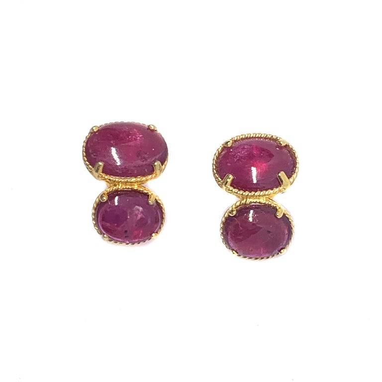 Bijoux Num Double Oval Genuine Ruby Vermeil Earrings In New Condition For Sale In Los Angeles, CA