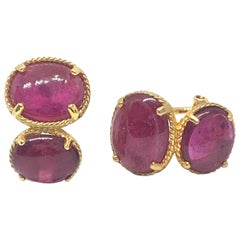 Double Oval Cabochon Genuine Ruby Earrings