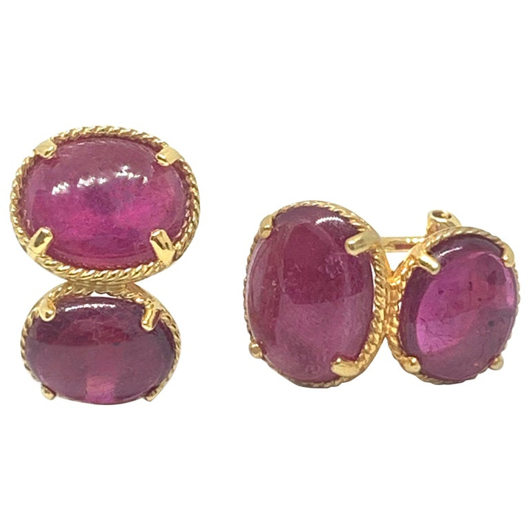 Bijoux Num Double Oval Genuine Ruby Vermeil Earrings For Sale