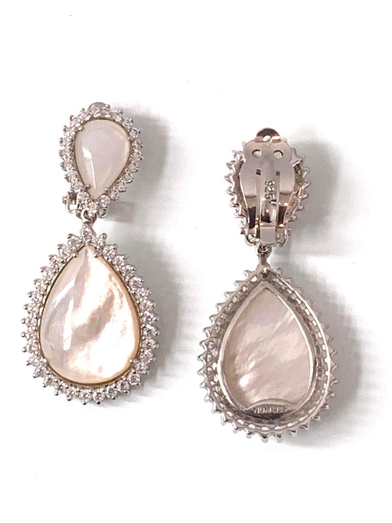 Contemporary Bijoux Num Double Pear Shape Mother of Pearl Drop Earrings For Sale