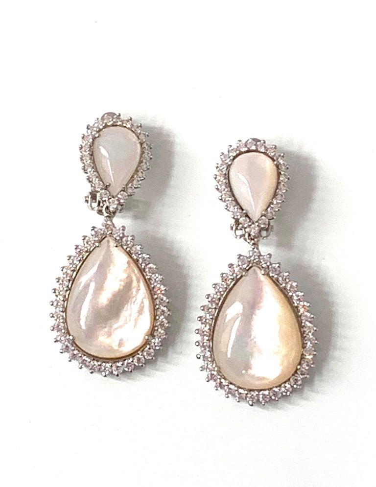 Pear Cut Bijoux Num Double Pear Shape Mother of Pearl Drop Earrings For Sale