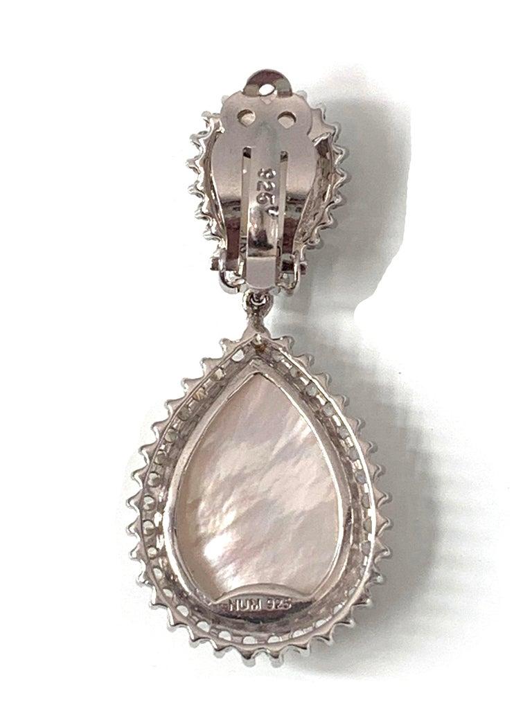 Women's Bijoux Num Double Pear Shape Mother of Pearl Drop Earrings For Sale
