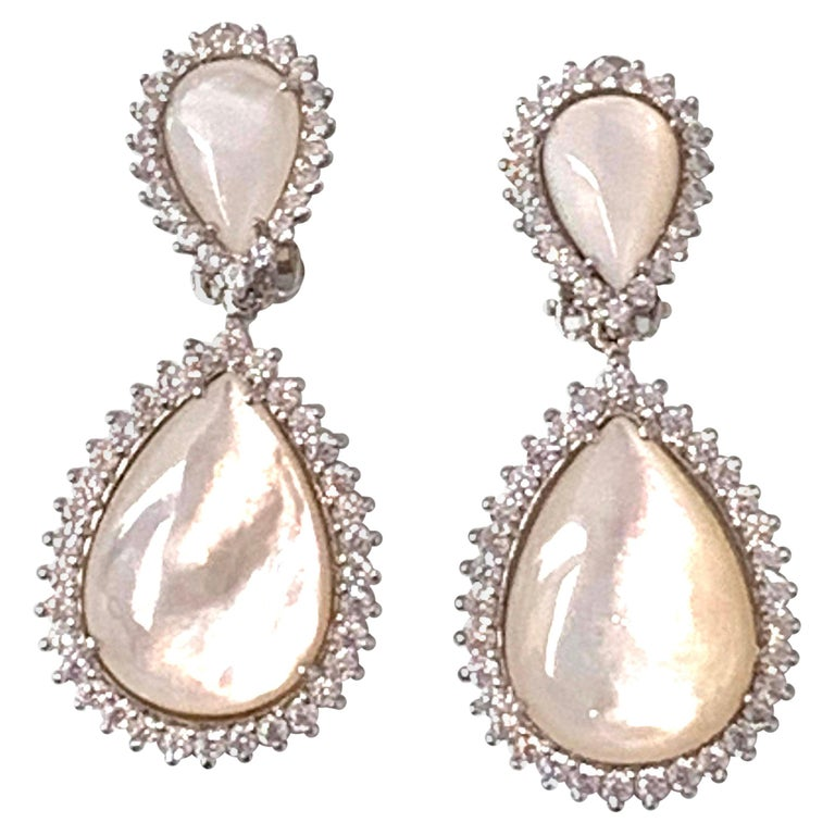 Bijoux Num Double Pear Shape Mother of Pearl Drop Earrings For Sale